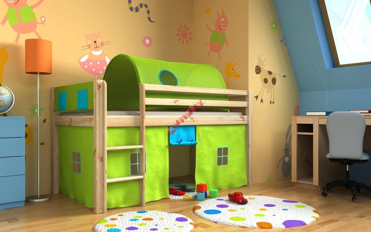 łóżko Dziecięce Antresola Gabi Z Iglo I Organizerami Sosna