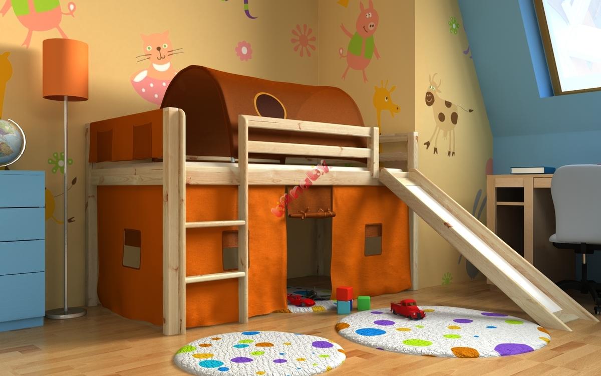 łóżko Dla Dzieci Gabi Ze Zjeżdżalnią Iglo I Organizerami Sosna