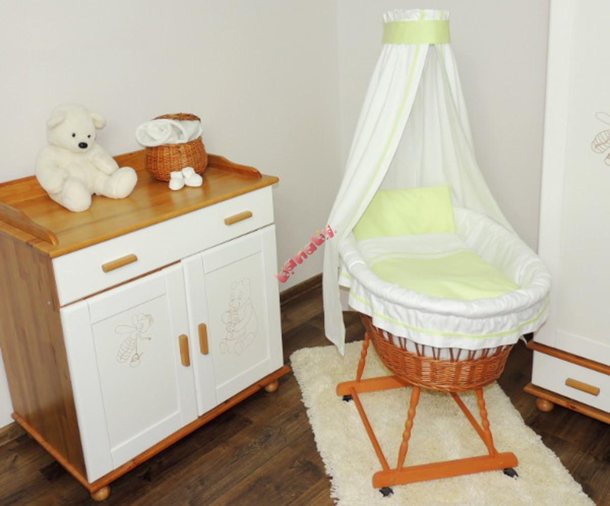 wiklinowy kosz dla niemowl t z zielon po ciel. Black Bedroom Furniture Sets. Home Design Ideas